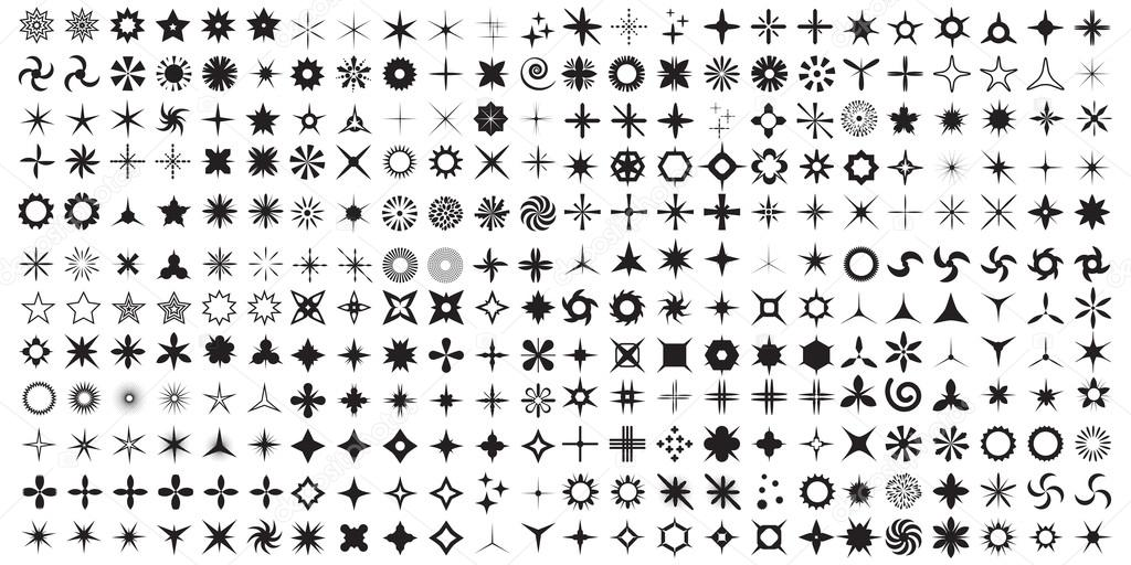 Vector set of sparkle lights stars.
