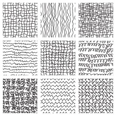 Abstract hand drawing textures collection. Vector ink illustration set. clip art vector