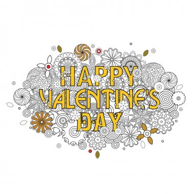 Happy Valentine's day design. Cloud shape pattern with sign. Floral imitation of retro doodle hand drawing with pen for coloring book for adults.