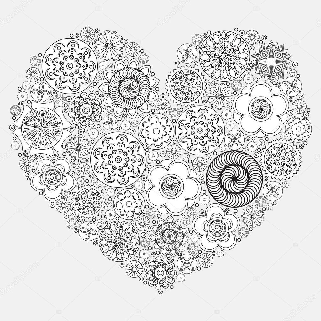 heart shape pattern for coloring book floral imitation of retro doodle hand drawing black and white background of zentangle coloring book page for adult - Zentangle Coloring Book