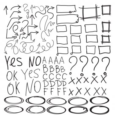 School and collage grades set with circles, ovals, highlight elements and arrows, check marks, imitation of hand drawn elements, yes, no, ok signs with squares and rectangles.  Question mark. clip art vector