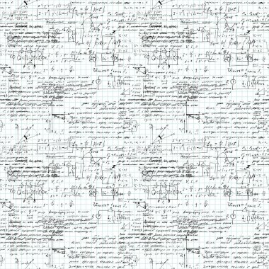 Seamless pattern of mathematical operation and equation, endless arithmetic pattern