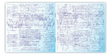 Set of vector seamless pattern with real hand written text on copybook grid paper.