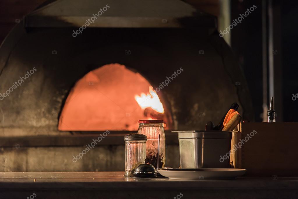 Pizza Oven In Open Kitchen Italian Restaurant Stock Photo C Aon168