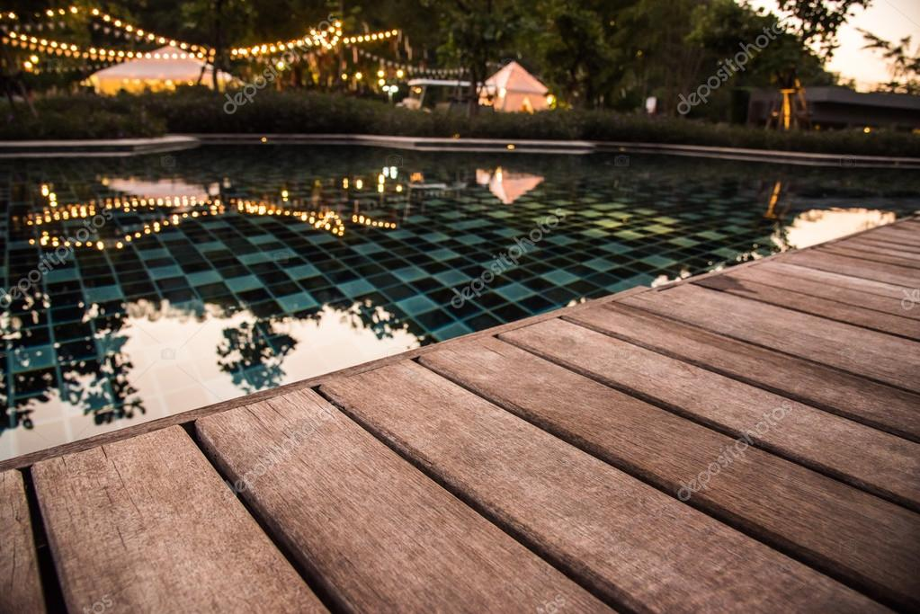 Wooden Pool Terrace In Evening Time U2014 Stock Photo