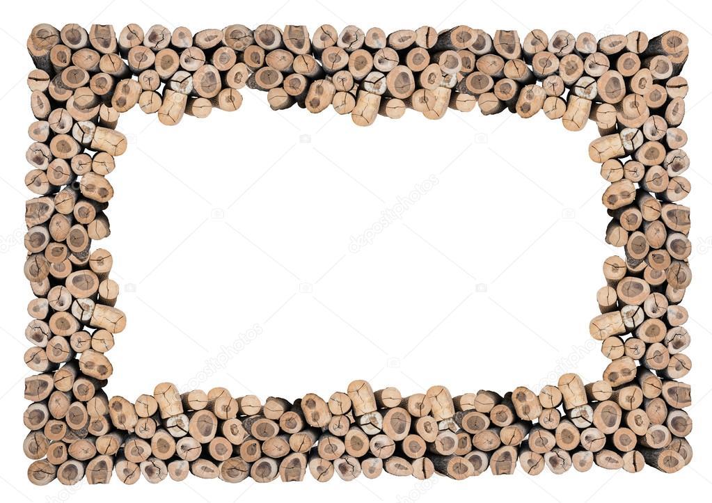 Resumen de marco de madera de registro aislada con trazado de ...