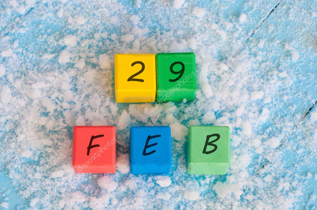 February 29th. Calendar date on color wooden cubes with marked Date ...