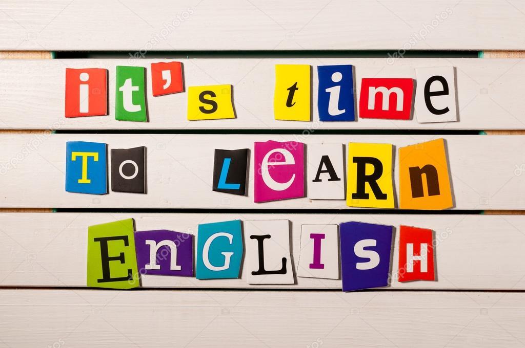 Englisch Lernen Konzept Seine Zeit Zum Englischlernen Geschrieben