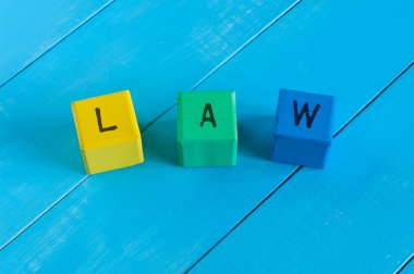 Word Law on childrens colourful cubes or blocks