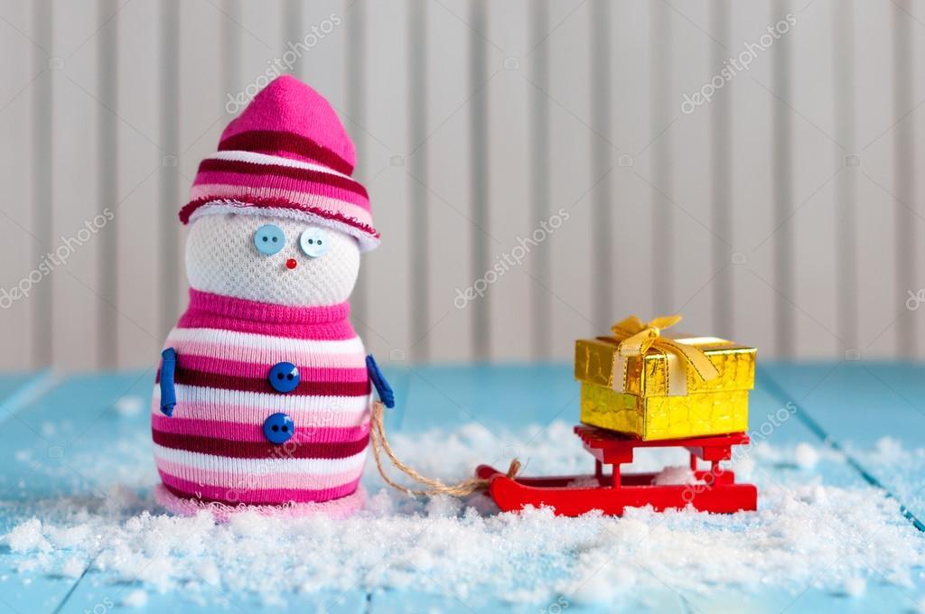 Schneemann eine Schlittenfahrt mit handgemachten Geschenk-Boxen zu ...