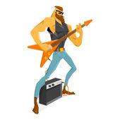 Fotografie Rockstar-Gitarrist spielt die Gitarre