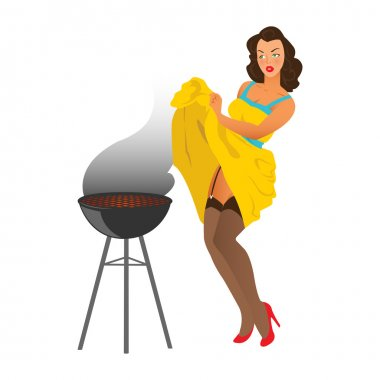 Pin up girl and the barbecue grill.