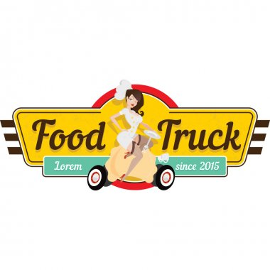 Pin-up logo with a cute girl for a food truck.