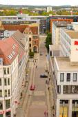 06.10.2011. Chemnitz. Ostdeutschland. Chemnitzer Altstadt und Blick auf den Wochenmarkt vom Rathaussturm.