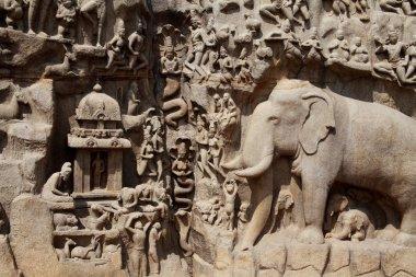 Bas-relief sculpture in Mammallapuram, India