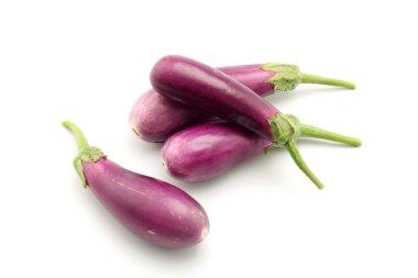 Oval Eggplants On White Background