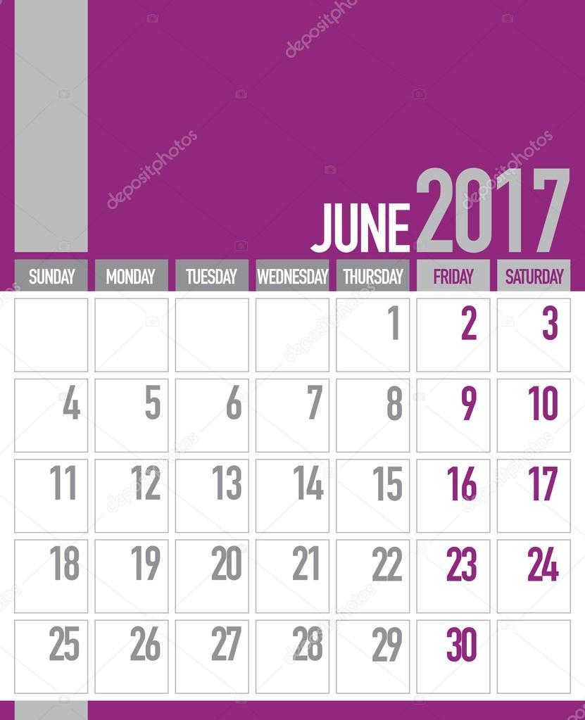 june 2017 business planner calendar stock vector craitza 106487364