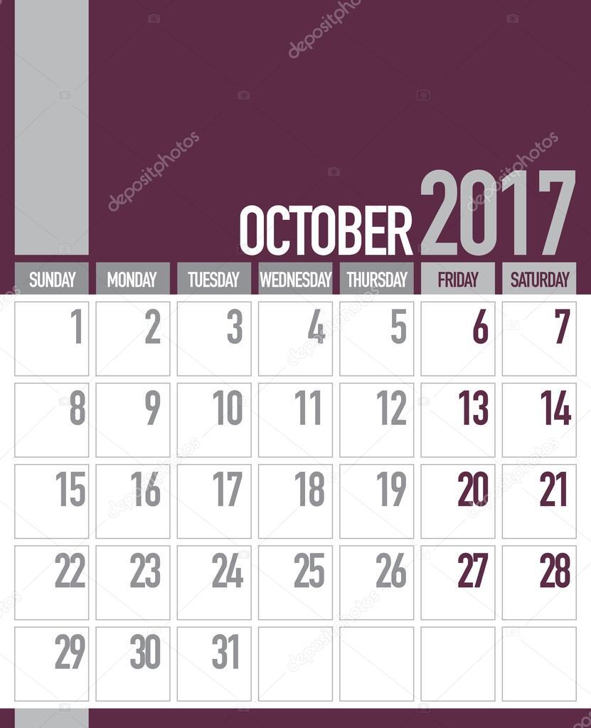 october 2017 business planner calendar stock vector craitza