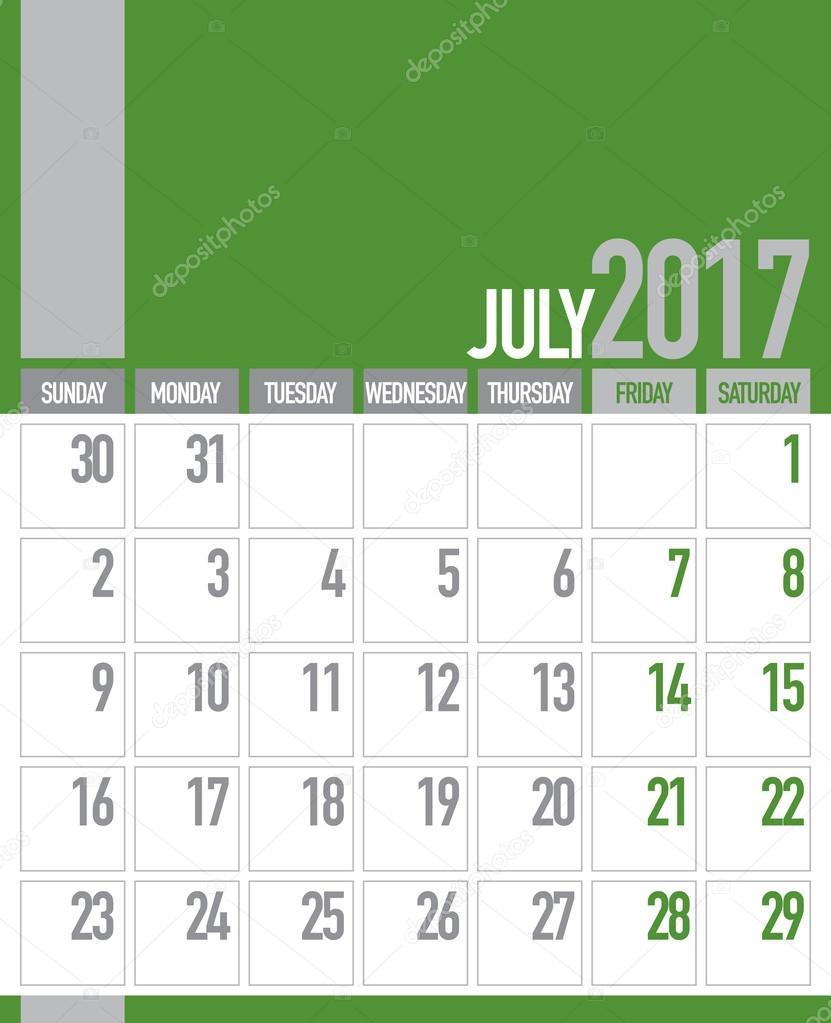 july 2017 business planner calendar stock vector craitza 106507604