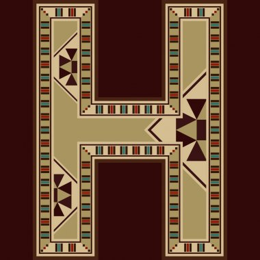 Oriental Wooden Mosaic Decorated Capital Letter H