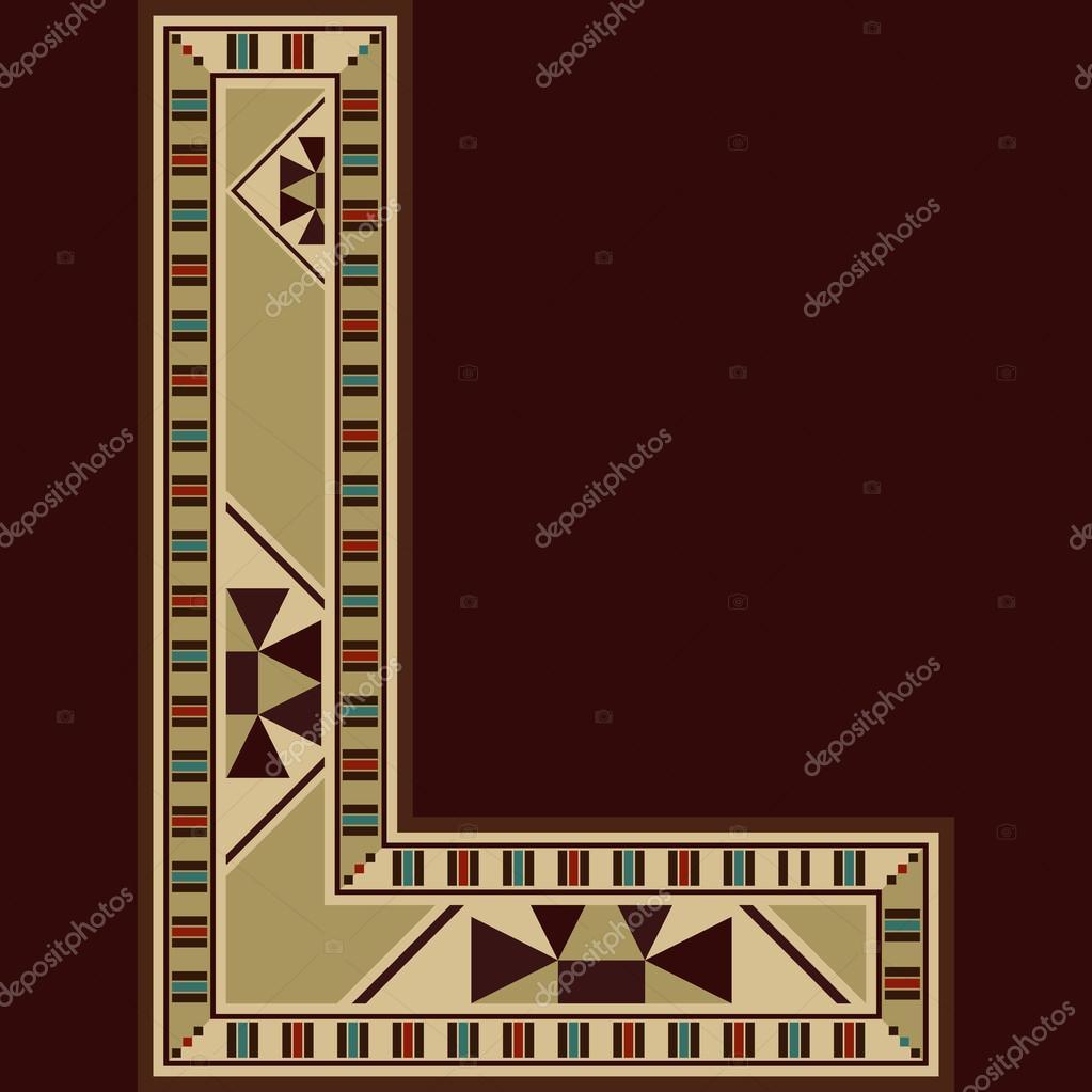 Mosaico in legno orientale decorato lettera maiuscola L ...