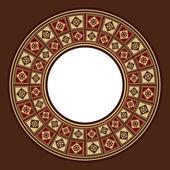 Oriental Wooden Marquetry Circular Frame
