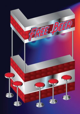 Free Beer - Blank Red Mini Bar Counter