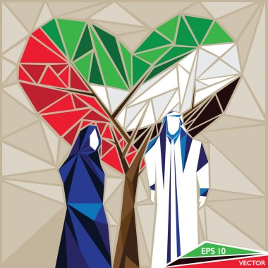 Arabian Man And Wife Under A Heart Shaped UAE Flag Tree