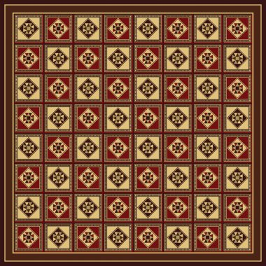 Full Size Oriental Style Decorated Wooden Checkers Board