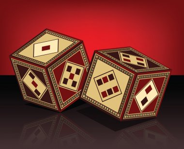 Oriental Beautifully Handcrafted Wooden Dice