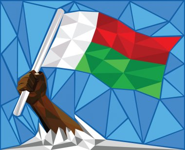 Strong Hand Raising The National Flag Of Madagascar