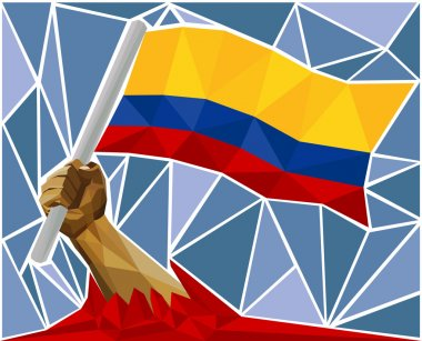 Arm Raising The National Flag Of Colombia