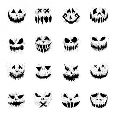 Scary faces of Halloween pumpkin or ghost icon