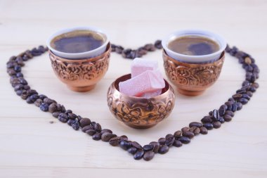 Turkish coffee and Turkish delight on a table