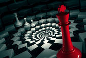 Photo red chess king on round chessboard vs white figures