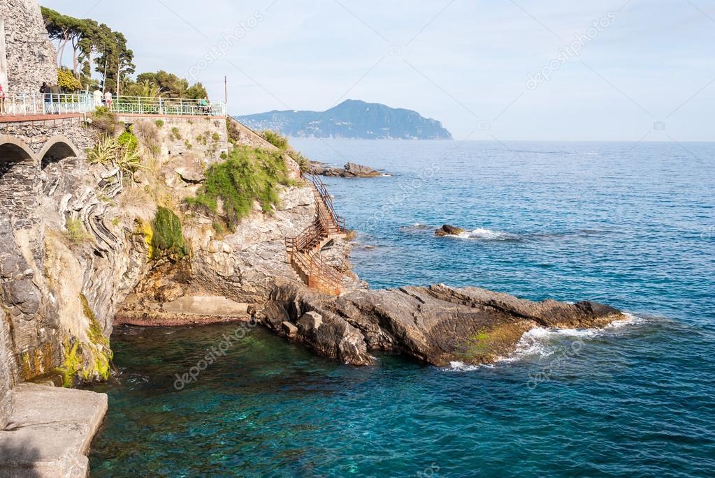 The coastline in Nervi, a sea district of Genoa