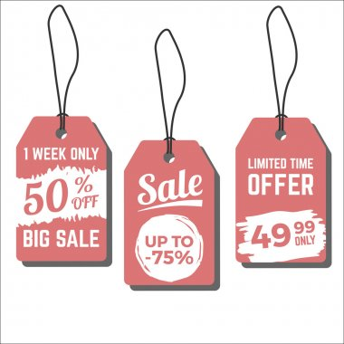 Sale tags. Vector illustration with hand drawn ink textures