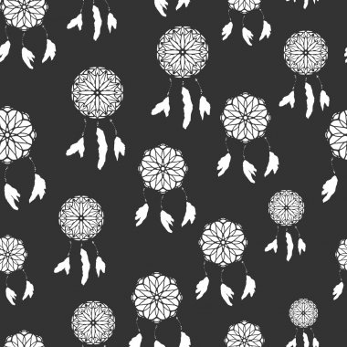 Seamless pattern with freehand dreamcatchers. Tribal vector illustration