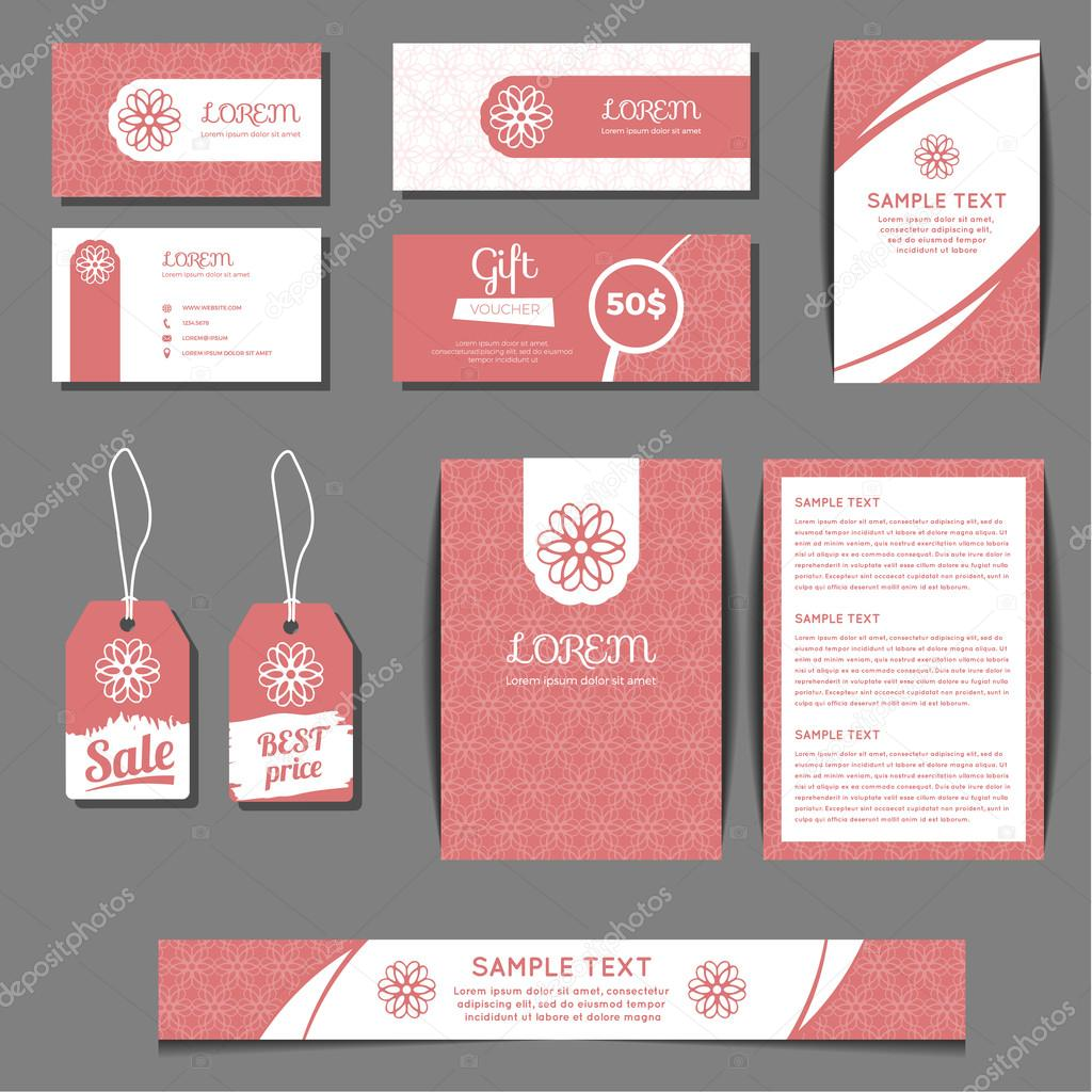 Corporate identity vector templates set with freehand floral logo