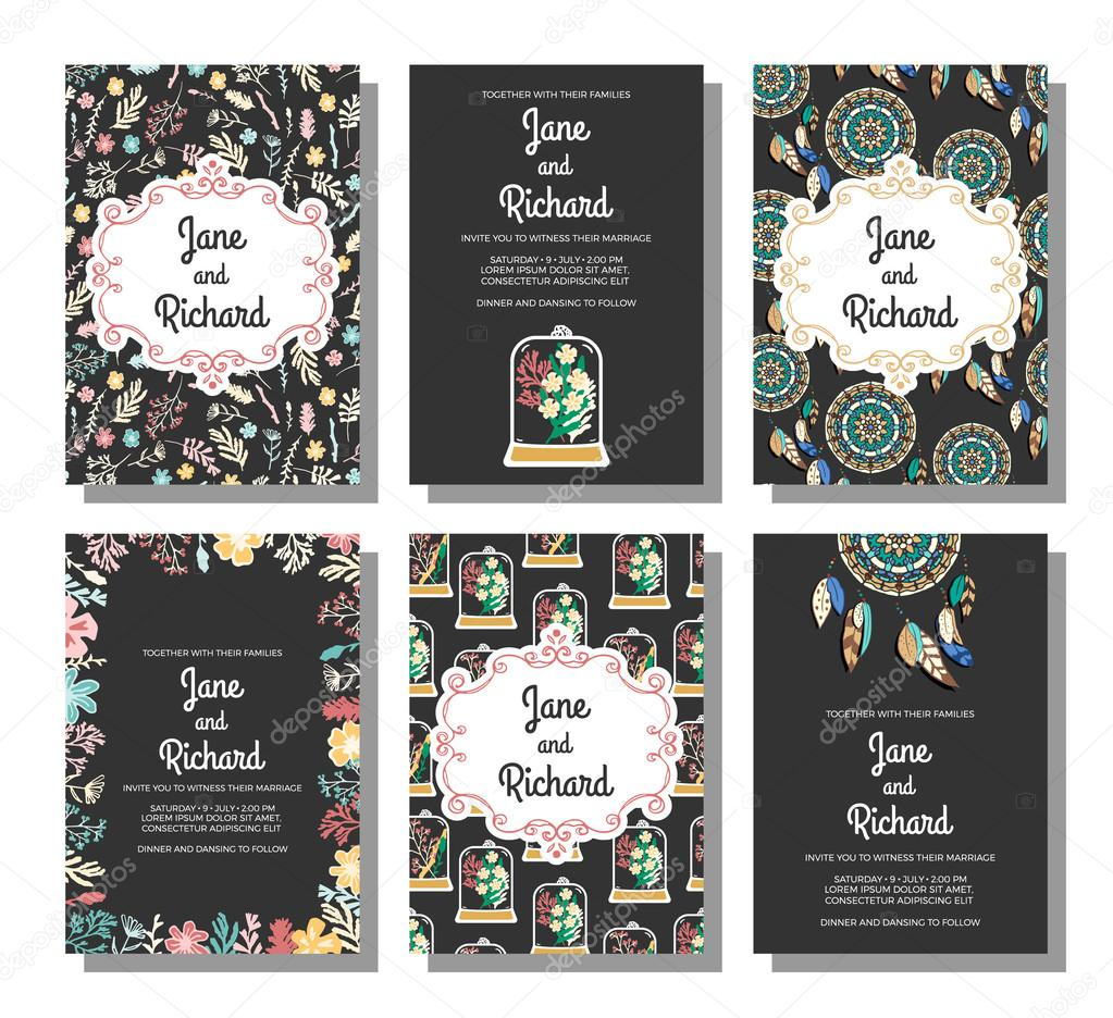 Set of wedding invitations, save the date card templates