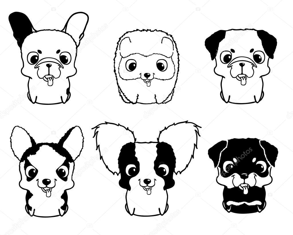 Conjunto De Filhotes De Cachorro Dos Desenhos Animados