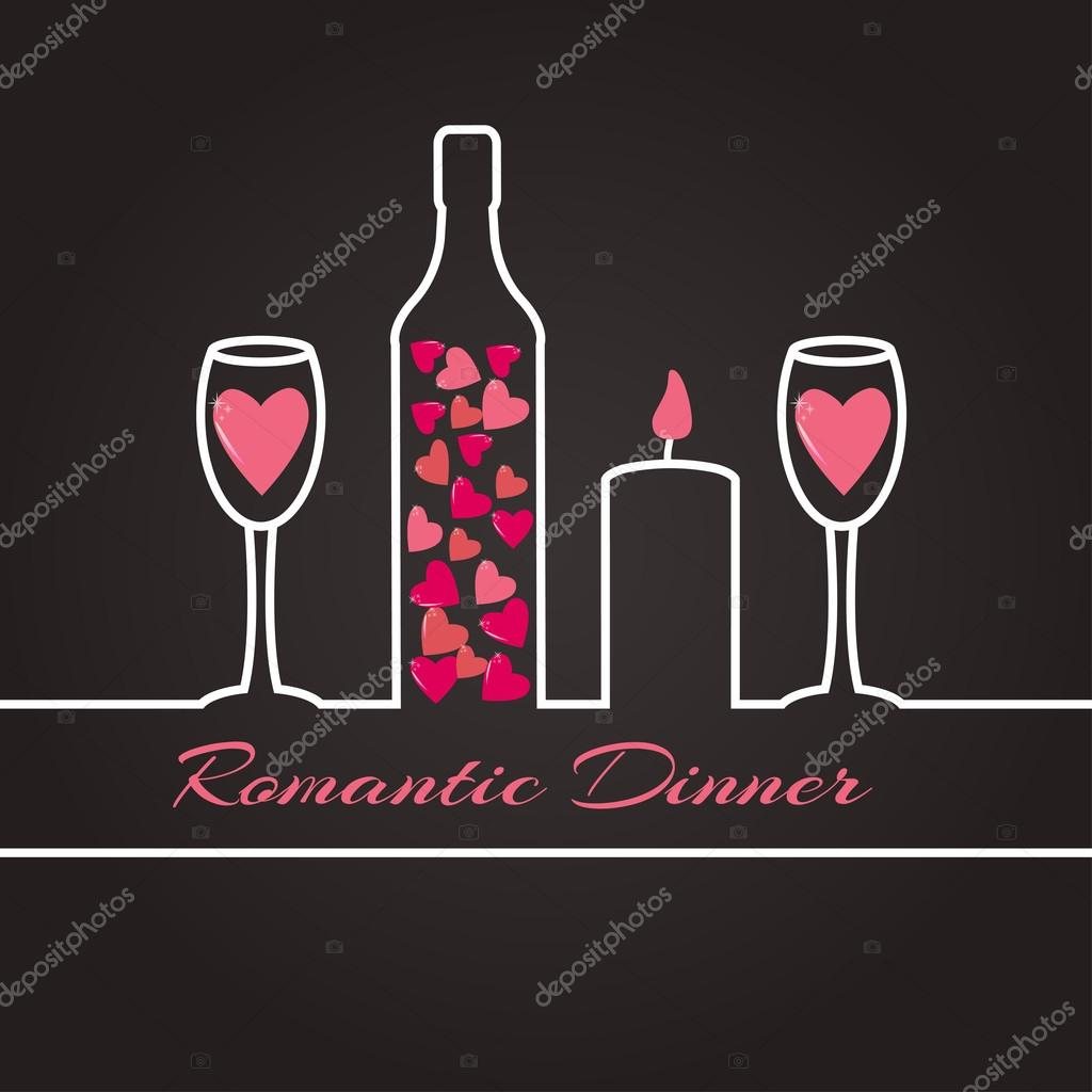 Ribbon silhouette of a romantic dinner for two stock vector