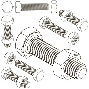 bolt and nut set all view isometric
