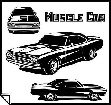 Muscle car vector poster monochrome