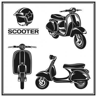 classic scooter emblems, icons and badges.