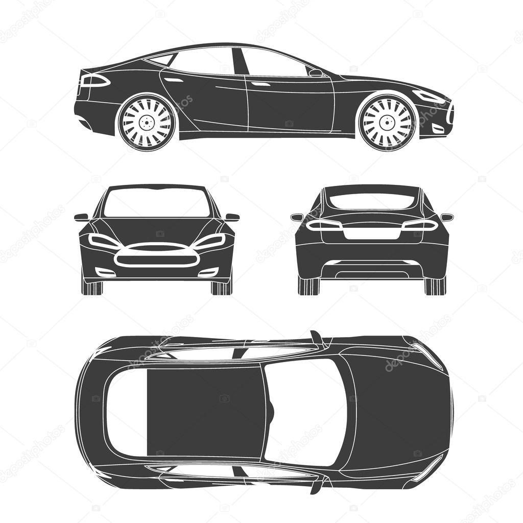 Car silhouette draw four all view top side back insurance rent car line draw insurance rent damage condition report form blueprint vector by galimovma79 malvernweather Image collections