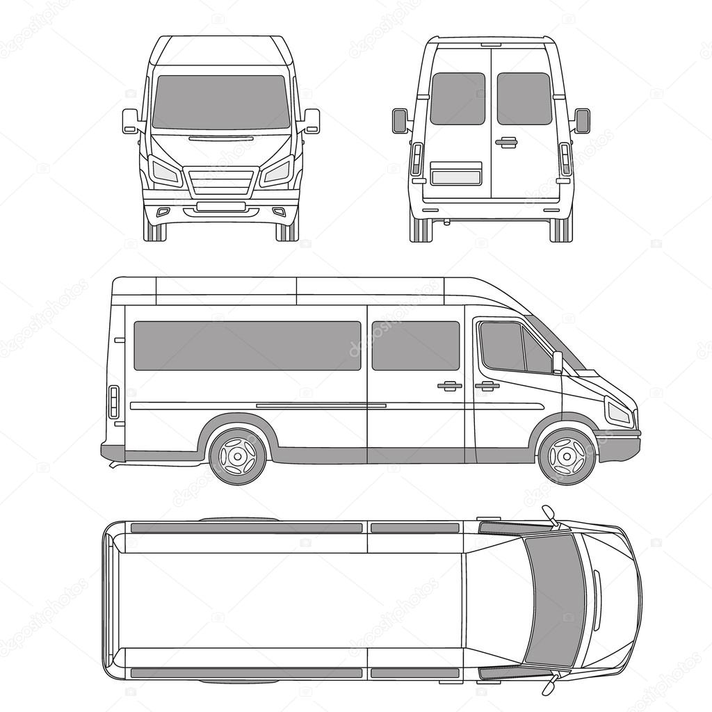 Car commercial vehicle delivery van blueprint drawing vector service car template white blank commercial vehicle delivery van vector by galimovma79 malvernweather Choice Image