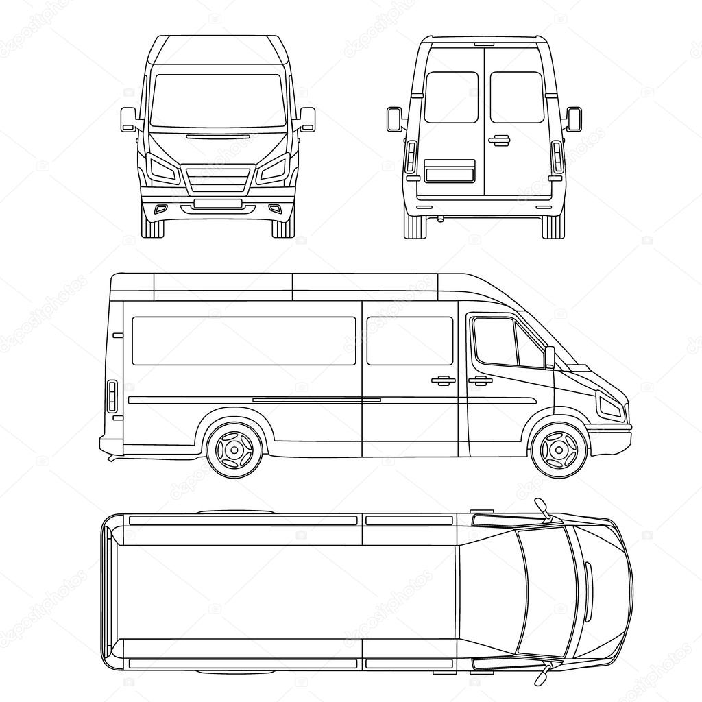 van template. commercial vehicle. Blueprint, drawing, proection, all ...
