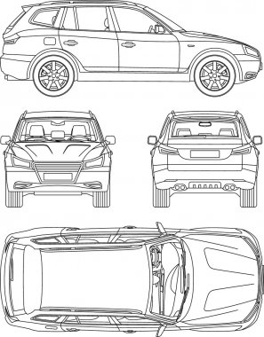 Car suv, 4x4, line draw, rent damage, condition report form blueprint, all view, top, side, front