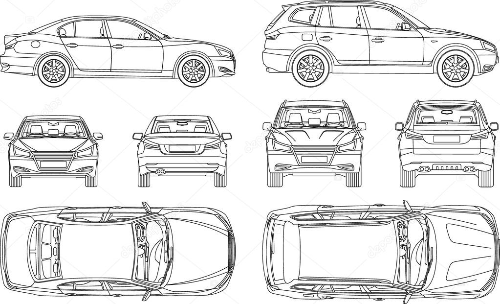 Car sedan and suv line draw four all view top side back insurance car line draw insurance rent damage condition report form blueprint vector by galimovma79 malvernweather Gallery